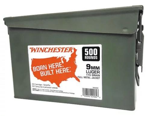 Winchester Ammo WW9C Winchester Handgun 9mm 115 GR Full Metal Jacket (FMJ) 500 Bx/ 2 Cs